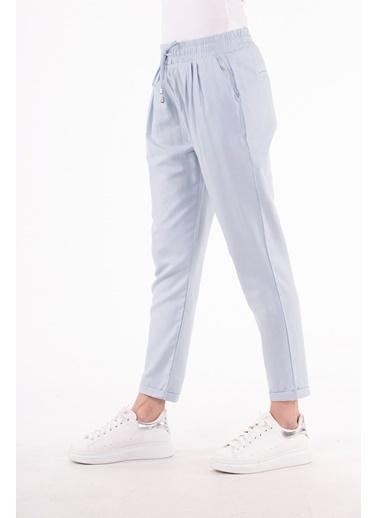 Stamina  Bayan Cepli Bağcıklı Düz Pantolon-A.Mavi 4PN1535 Mavi